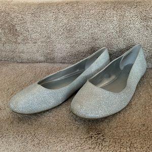 Sparkly Silver Ballet Flats